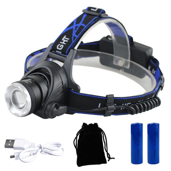 엘마운틴 LED 헤드랜턴 T6 + 배터리 2p + 파우치 + 충전케이블 세트