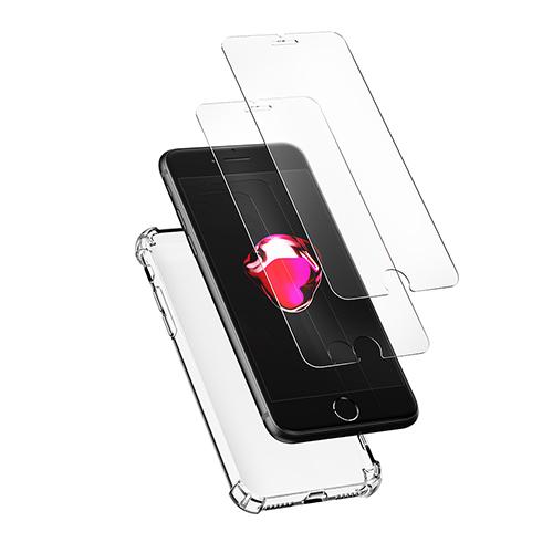 신지모루 범퍼 강화 4DX 에어팁 젤리 휴대폰 케이스 + 2.5D 강화 유리 필름 2p 세트