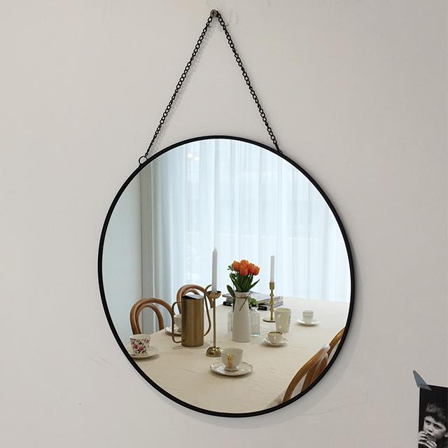 프레임 벽거울 원형 중형, 블랙