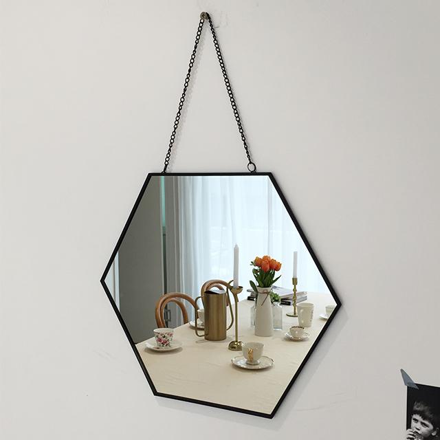 프레임 벽거울 육각 대형, 블랙