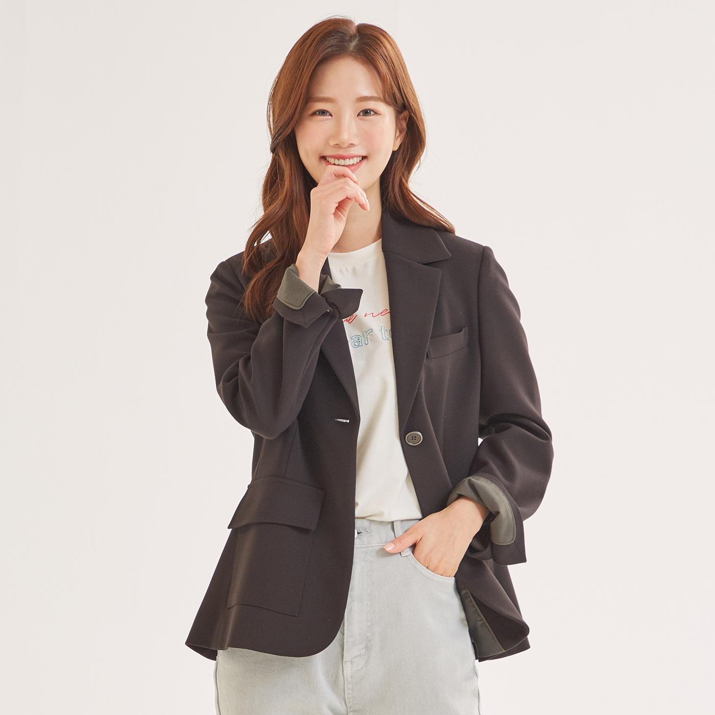 로엠 여성용 버튼 변형 슬림핏 자켓