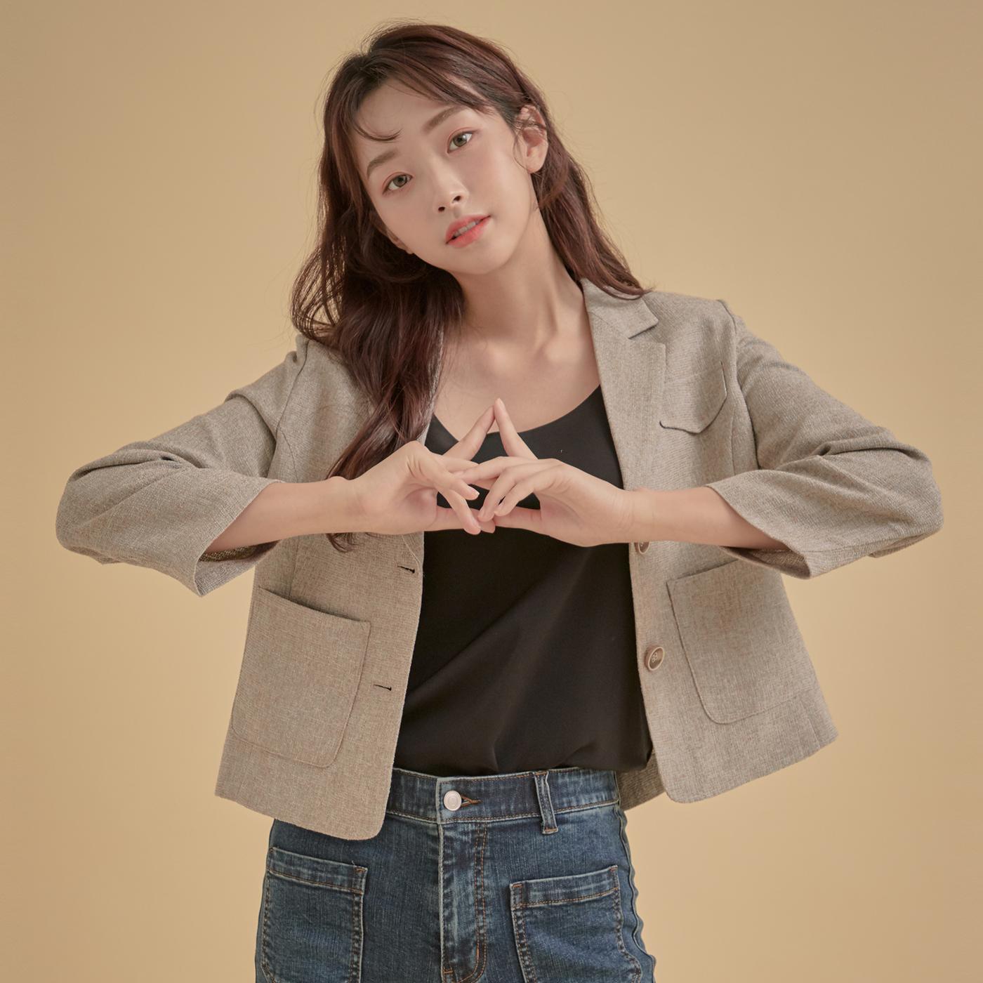 로엠 여성용 크랍 트위드 자켓
