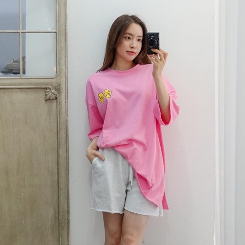 이힝 여성용 버니 미시건 프린팅 레터링 루즈핏 반팔 티셔츠