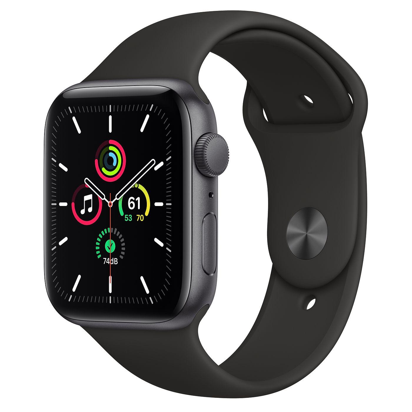 Apple 2020년 애플워치 SE, 44mm, GPS, 스페이스 그레이 알루미늄 케이스, 블랙 스포츠 밴드
