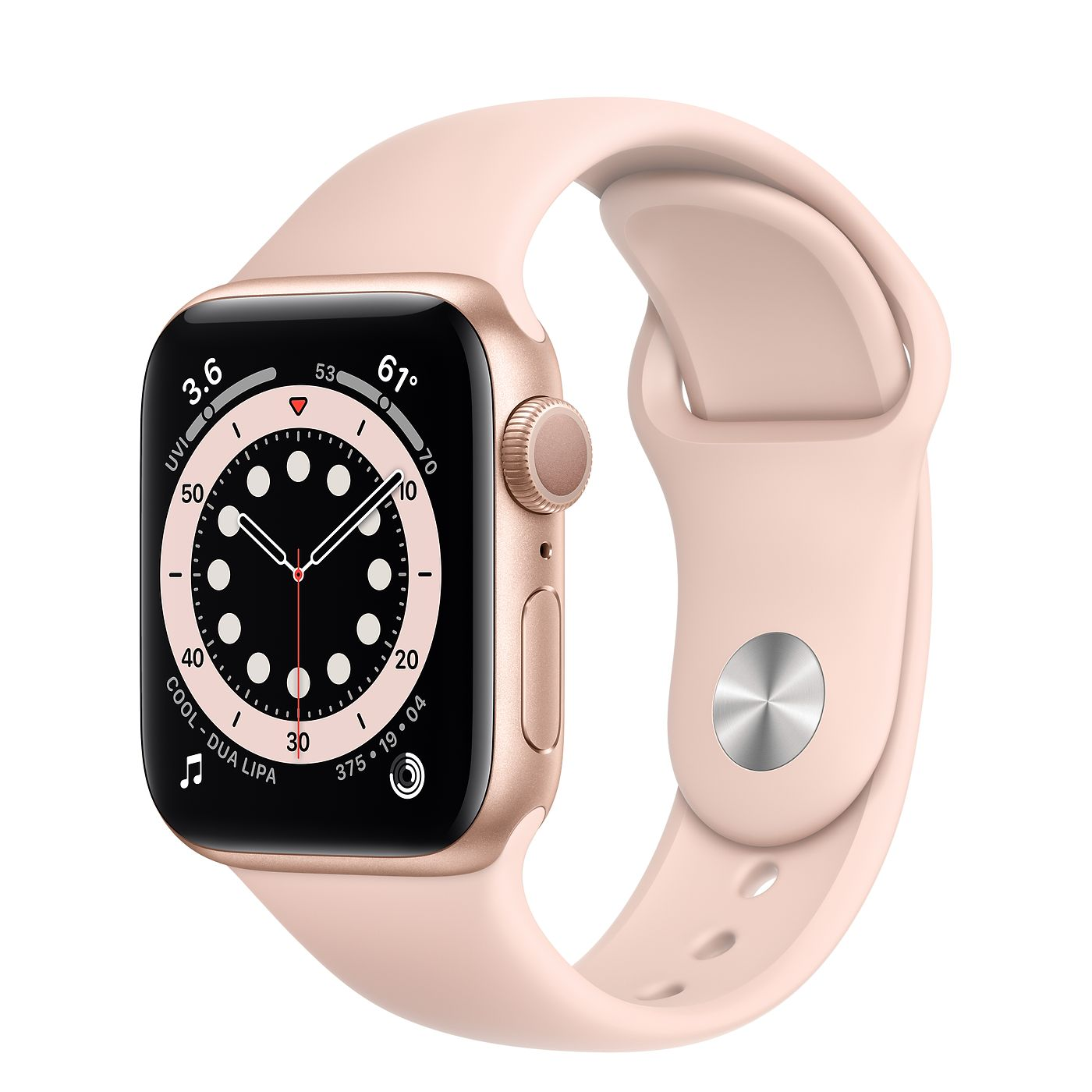 Apple 2020년 애플워치 6, GPS, 골드 알루미늄 케이스, 핑크 샌드 스포츠 밴드