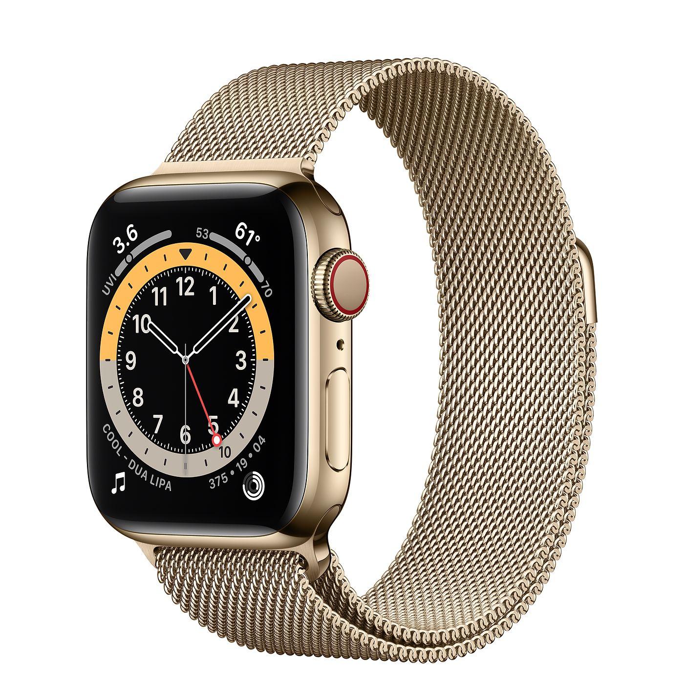 Apple 애플워치 6, GPS+Cellular, 골드 스테인리스 스틸 케이스, 골드 밀레니즈 루프
