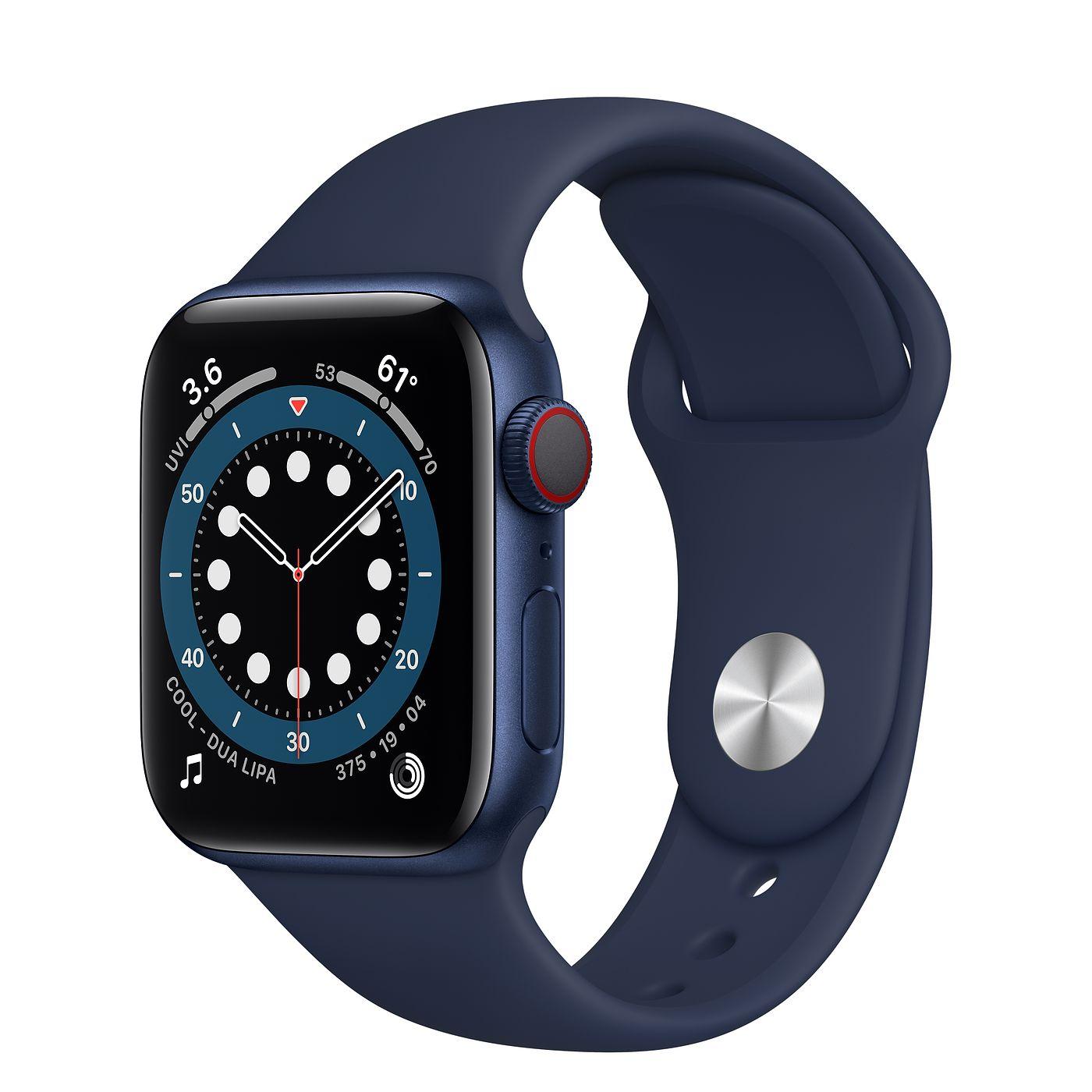 Apple 2020년 애플워치 6 GPS + 셀룰러 40mm 레귤러, 블루 알루미늄(케이스), 딥네이비(스포츠 밴드)