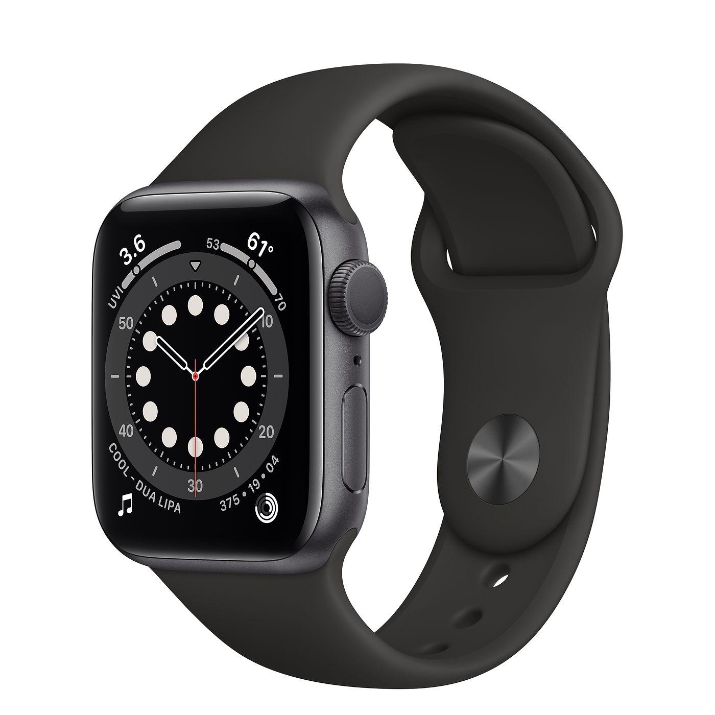 Apple 2020년 애플워치 6, GPS, 스페이스 그레이 알루미늄 케이스, 블랙 스포츠 밴드