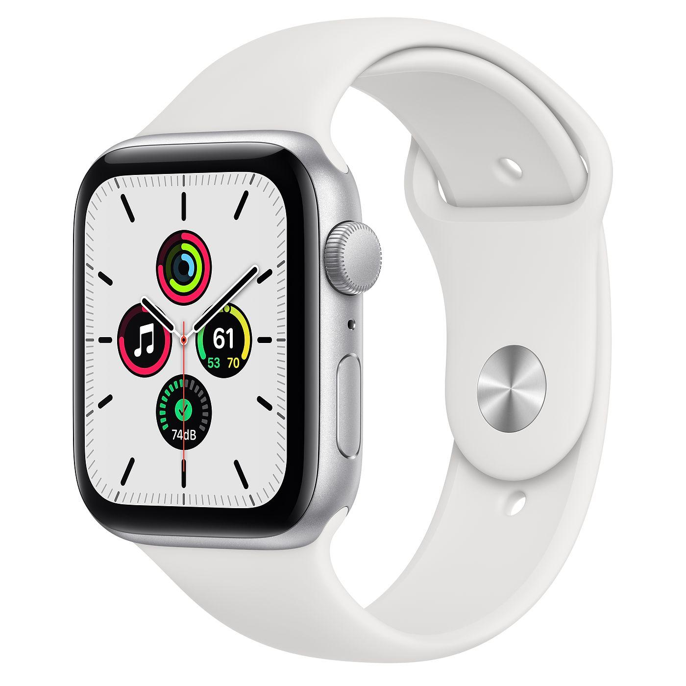 Apple 애플워치 SE, GPS, 실버 알루미늄 케이스, 화이트 스포츠 밴드