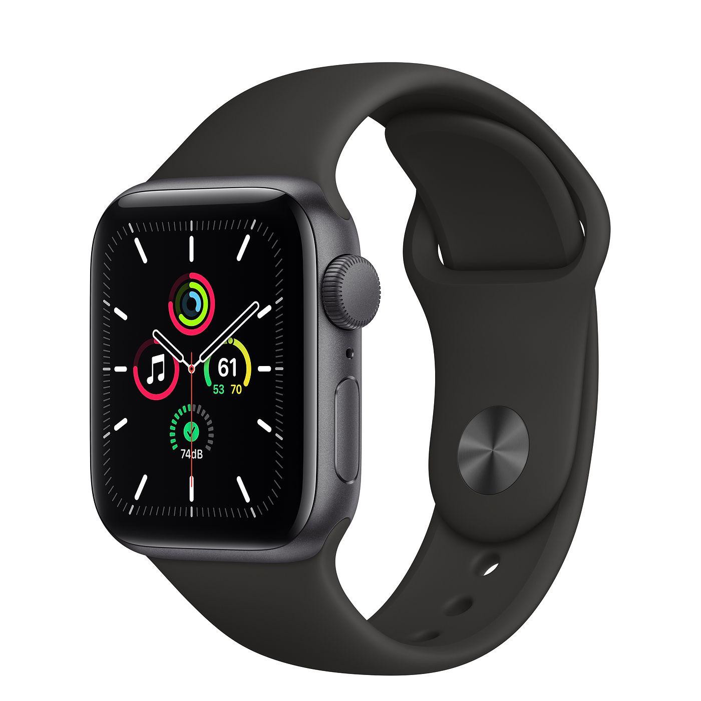 Apple 2020년 애플워치 SE, GPS, 스페이스 그레이 알루미늄 케이스, 블랙 스포츠 밴드