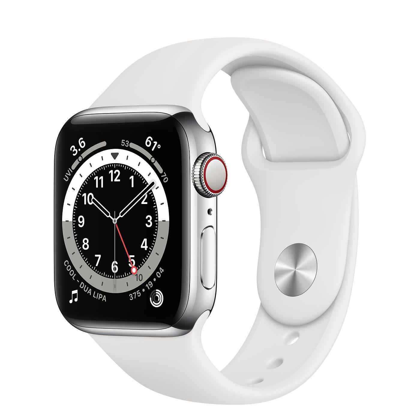 Apple 애플워치 6, GPS+Cellular, 실버 스테인리스 스틸 케이스, 화이트 스포츠 밴드