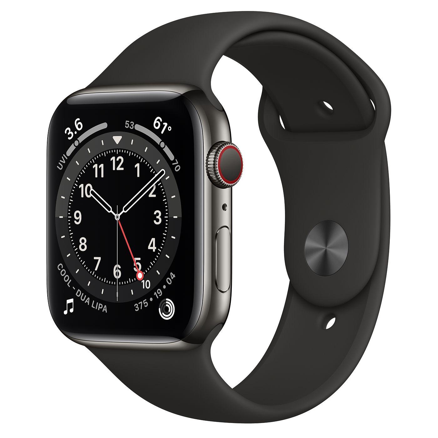 Apple 2020년 애플워치 6, GPS+Cellular, 그래파이트 스테인리스 스틸 케이스, 블랙 스포츠 밴드