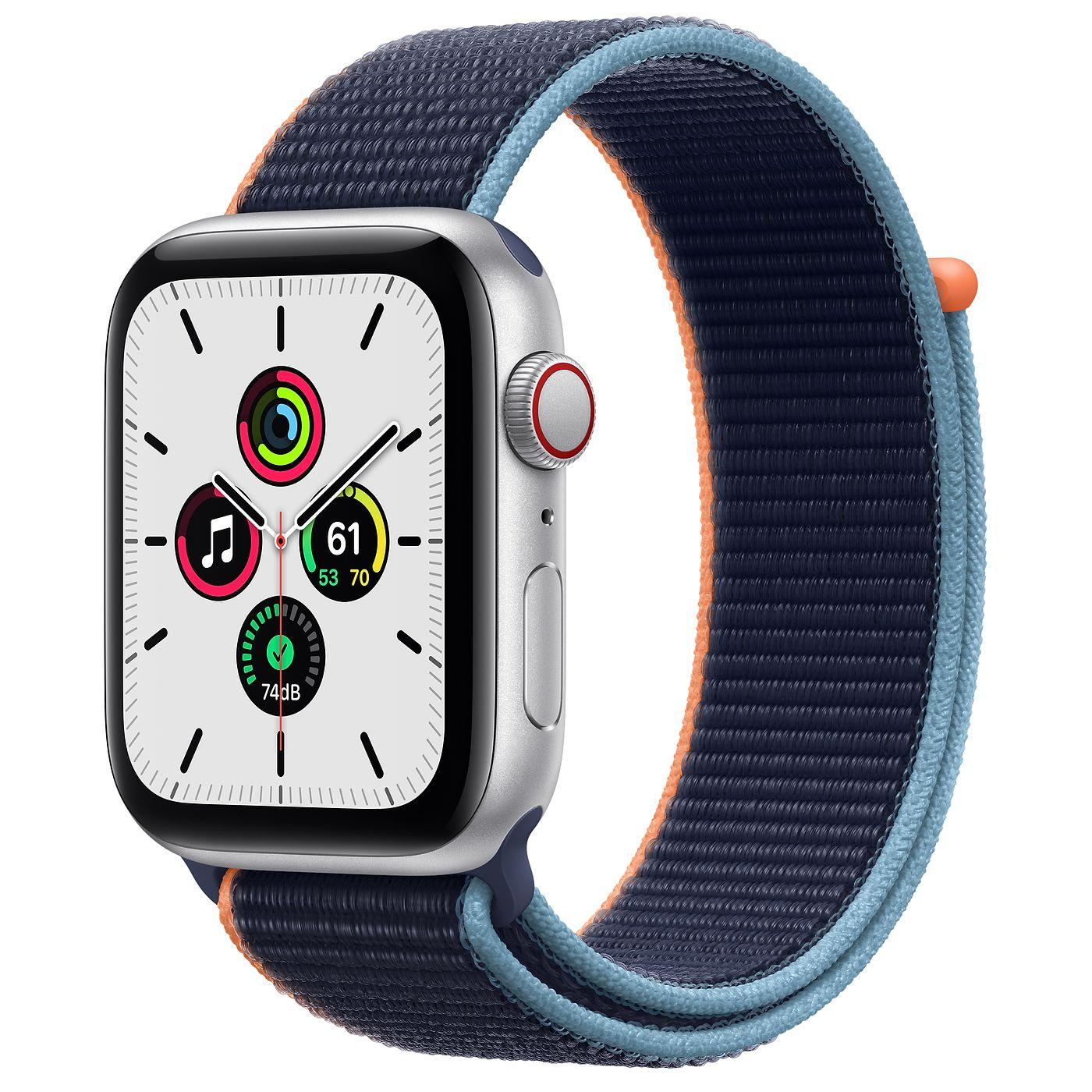 Apple 2020년 애플워치 SE, GPS+Cellular, 실버 알루미늄 케이스, 딥네이비 스포츠 루프
