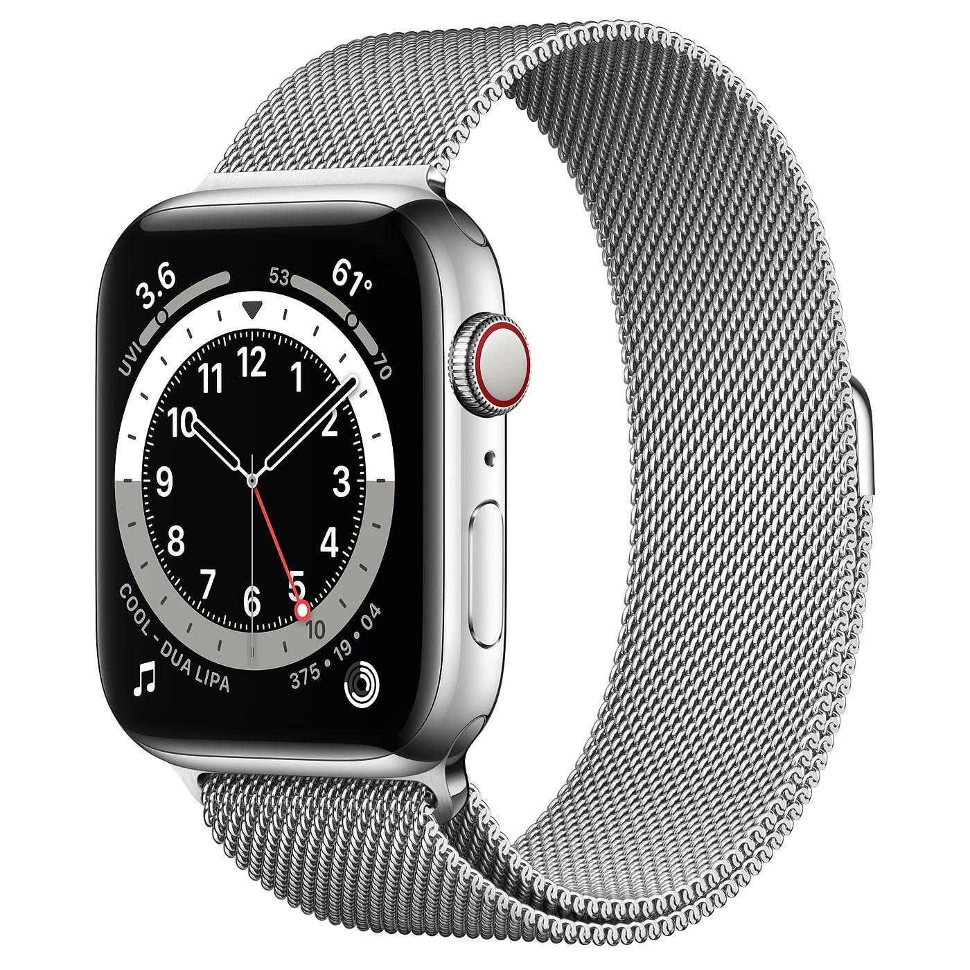Apple 2020년 애플워치 6, GPS+Cellular, 실버 스테인리스 스틸 케이스, 실버 밀레니즈 루프