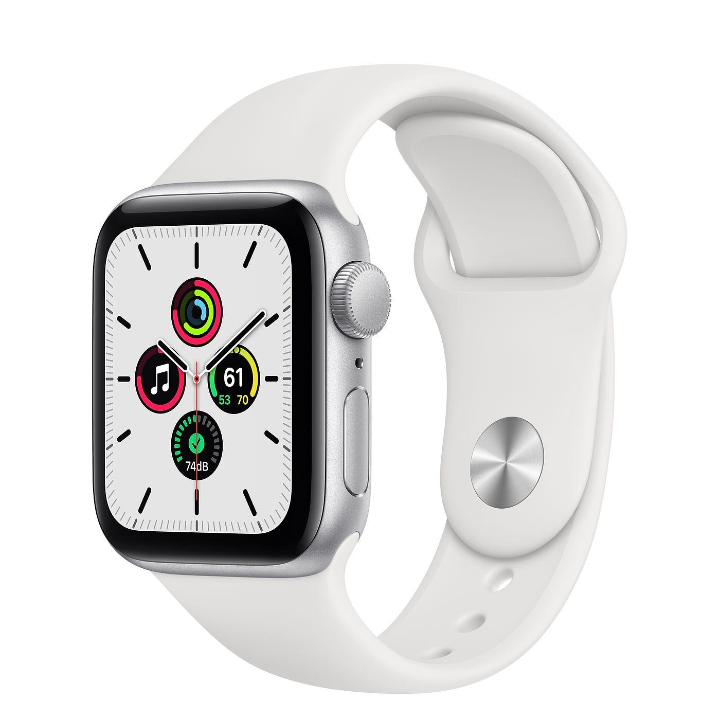 Apple 2020년 애플워치 SE, GPS, 실버 알루미늄 케이스, 화이트 스포츠 밴드
