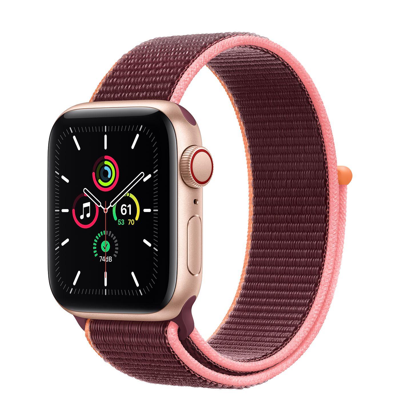 Apple 애플워치 SE, GPS+Cellular, 골드 알루미늄 케이스, 플럼 스포츠 루프