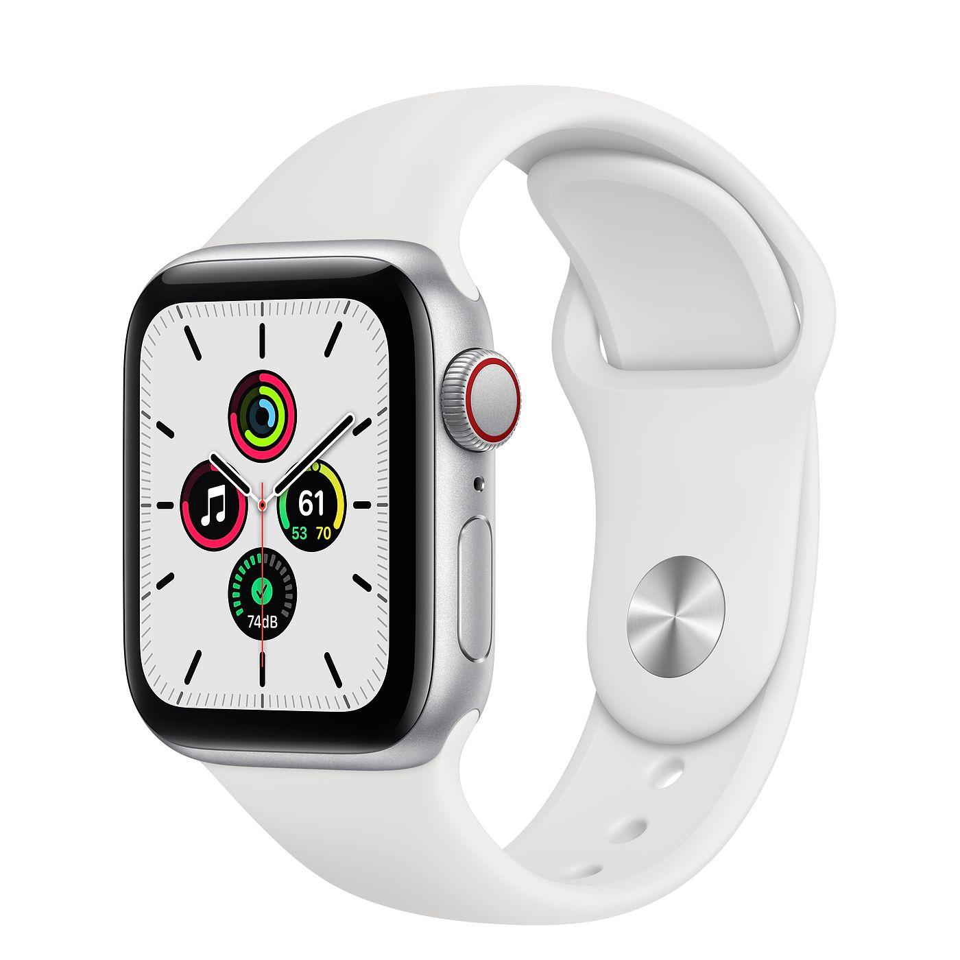 Apple 2020년 애플워치 SE, GPS+Cellular, 실버 알루미늄 케이스, 화이트 스포츠 밴드
