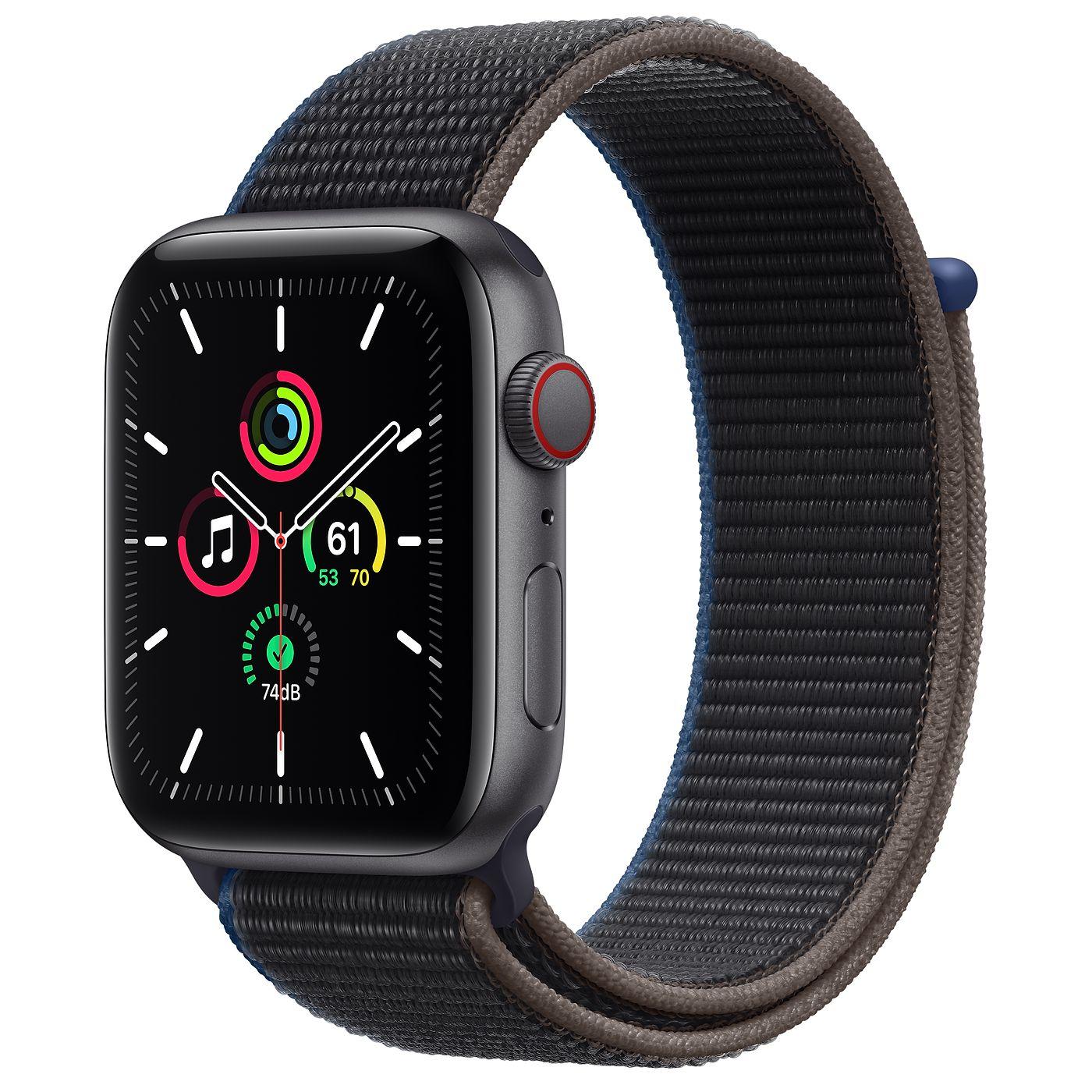Apple 2020년 애플워치 SE, GPS+Cellular, 스페이스 그레이 알루미늄 케이스, 차콜 스포츠 루프
