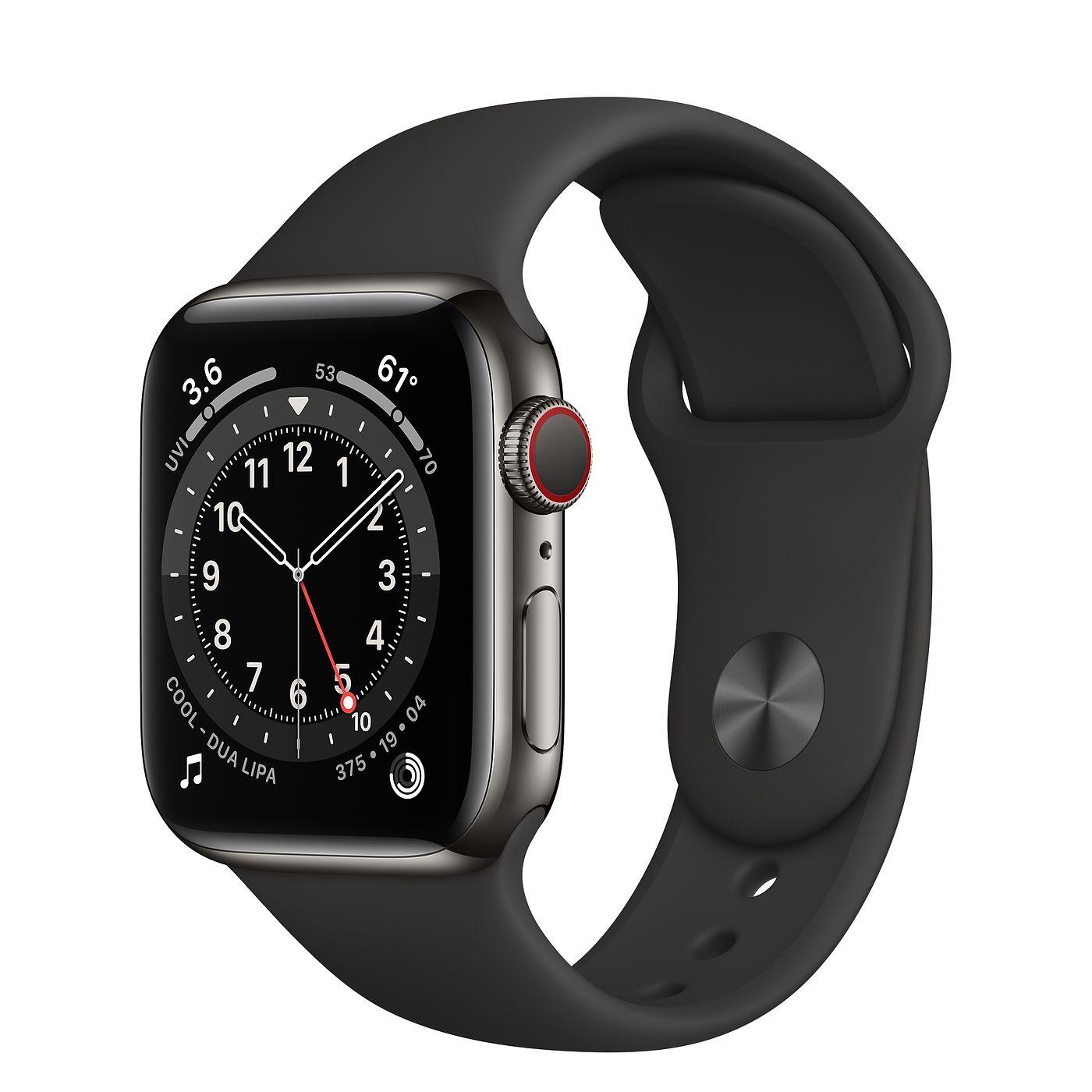 Apple 2020년 애플워치 6 GPS + 셀룰러 40mm 레귤러, 그래파이트 스테인리스 스틸(케이스), 블랙(스포츠 밴드)