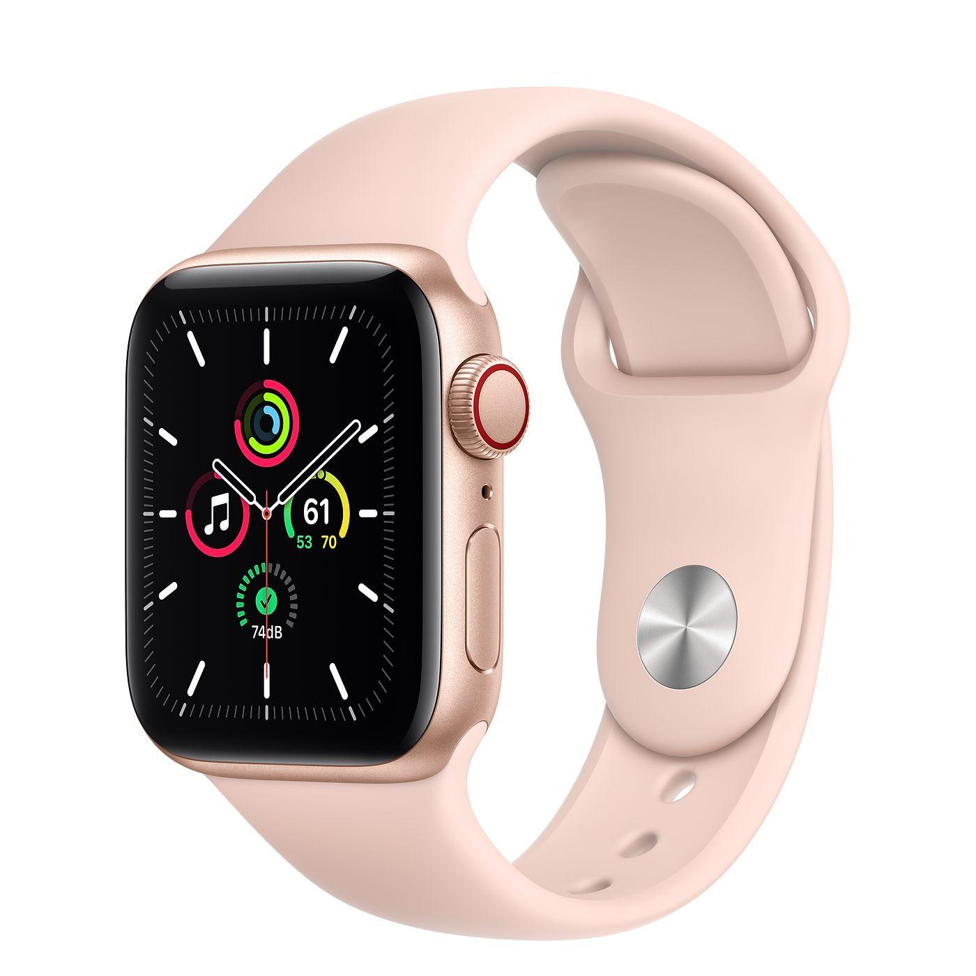 Apple 2020년 애플워치 SE, GPS+Cellular, 골드 알루미늄 케이스, 핑크 샌드 스포츠 밴드