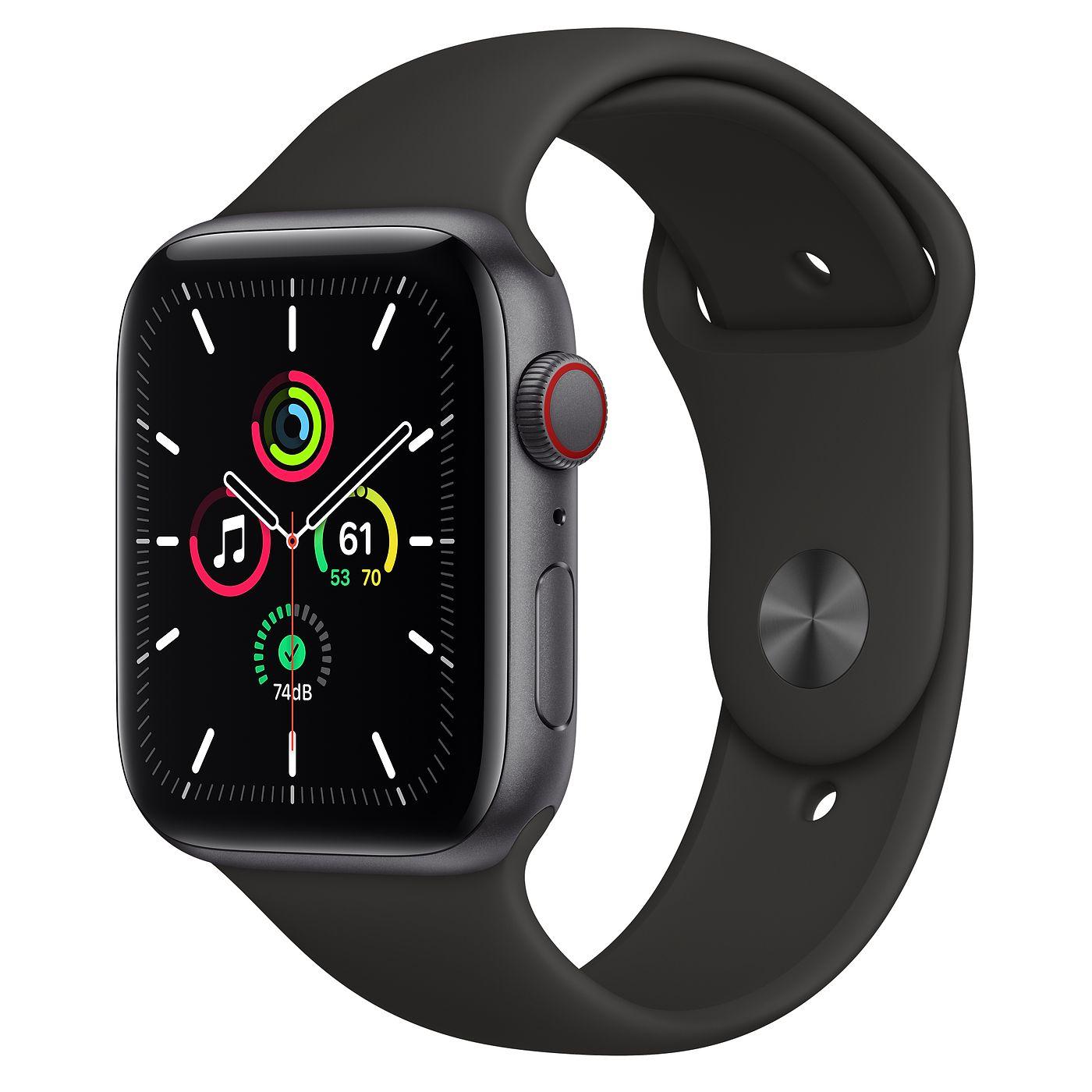 Apple 2020년 애플워치 SE GPS + 셀룰러 44mm 레귤러, 스페이스 그레이 알루미늄(케이스), 블랙(스포츠 밴드)