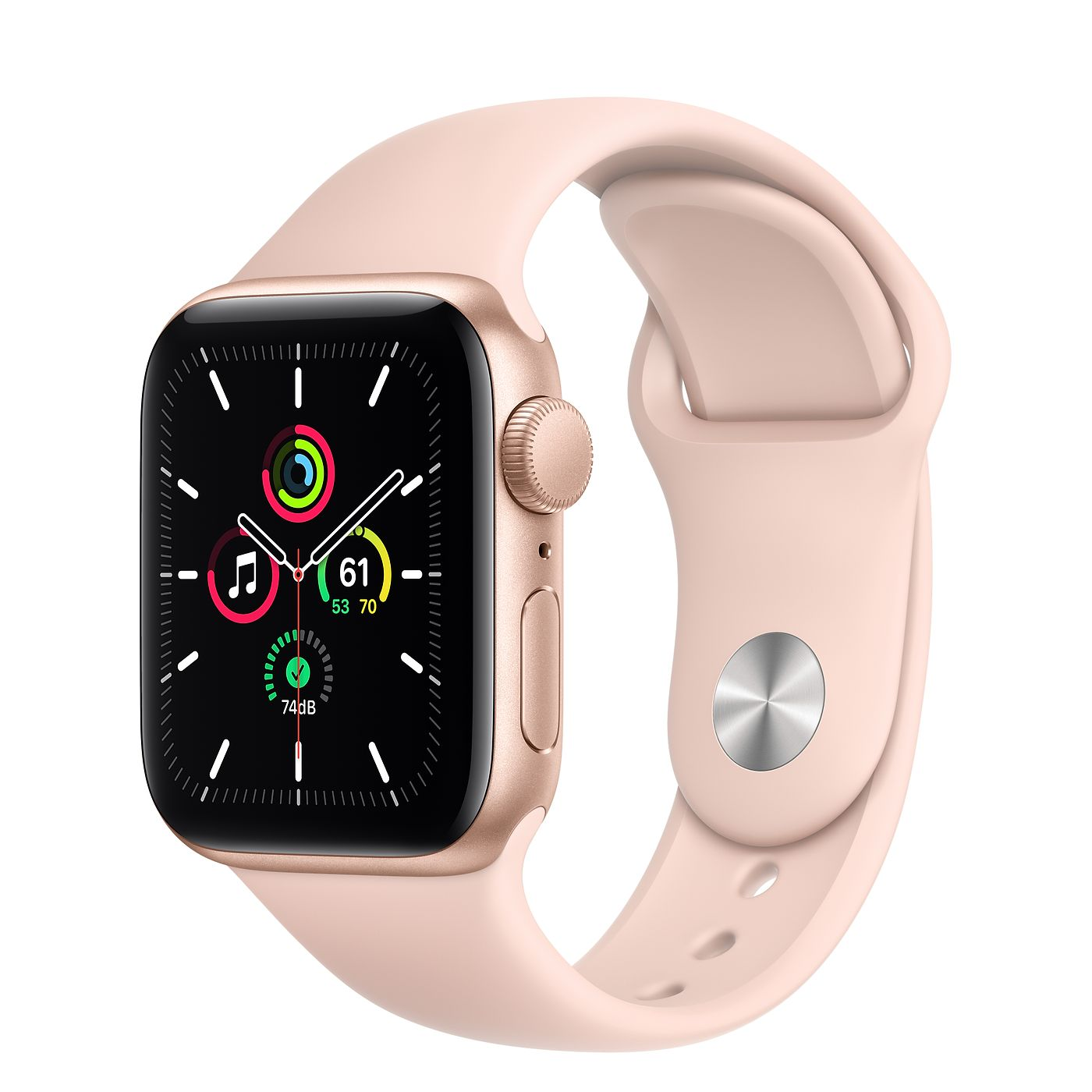 Apple 2020년 애플워치 SE, GPS, 골드 알루미늄 케이스, 핑크샌드 스포츠 밴드