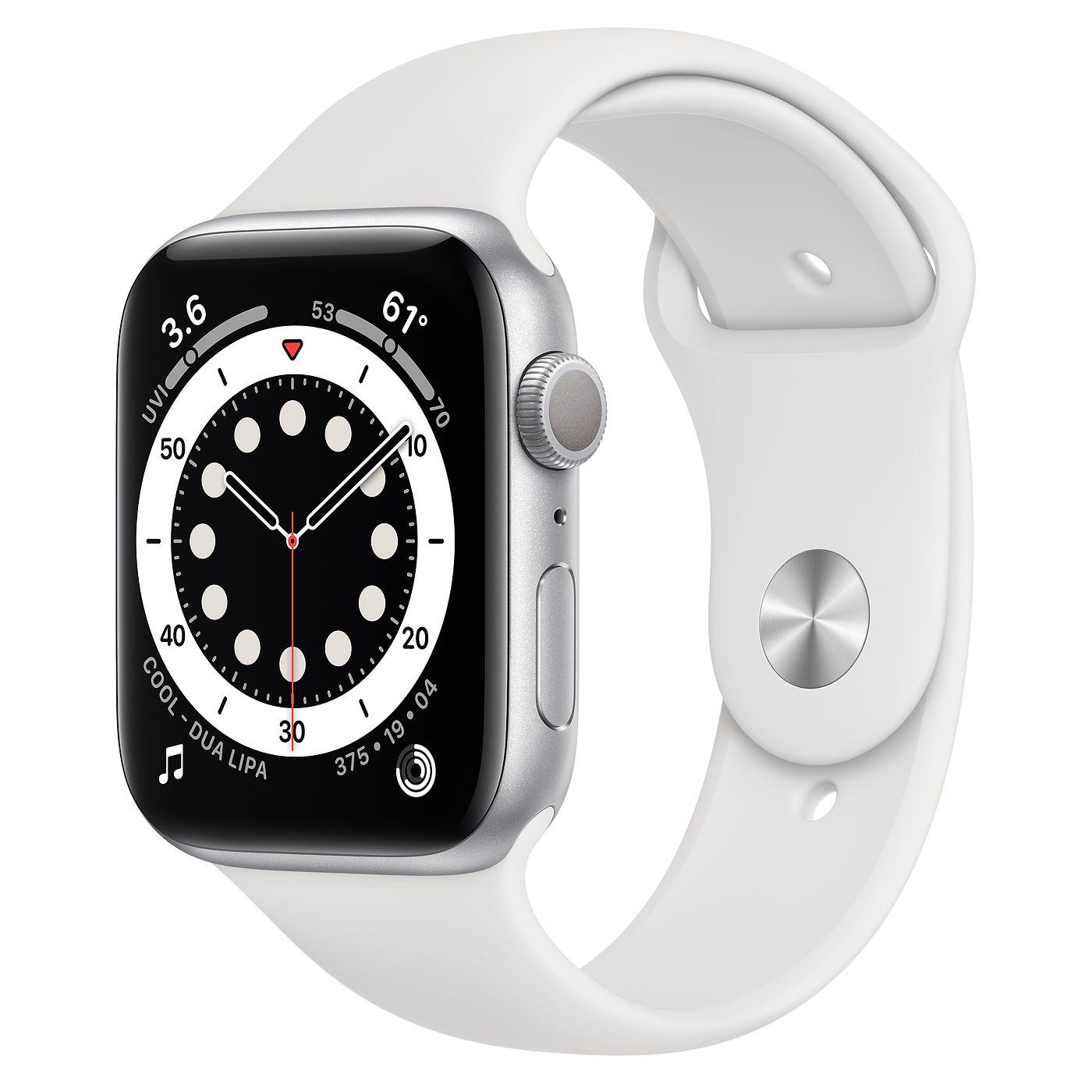 Apple 애플워치 6, GPS, 실버 알루미늄 케이스, 화이트 스포츠 밴드