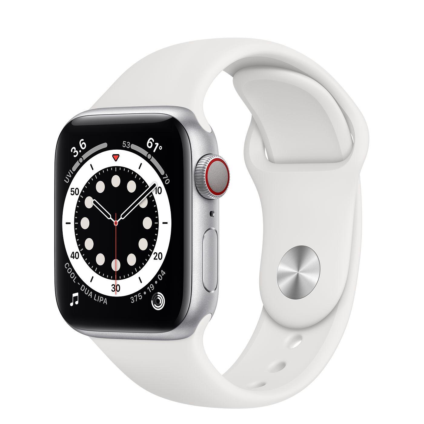 Apple 2020년 애플워치 6, GPS+Cellular, 실버 알루미늄 케이스, 화이트 스포츠 밴드
