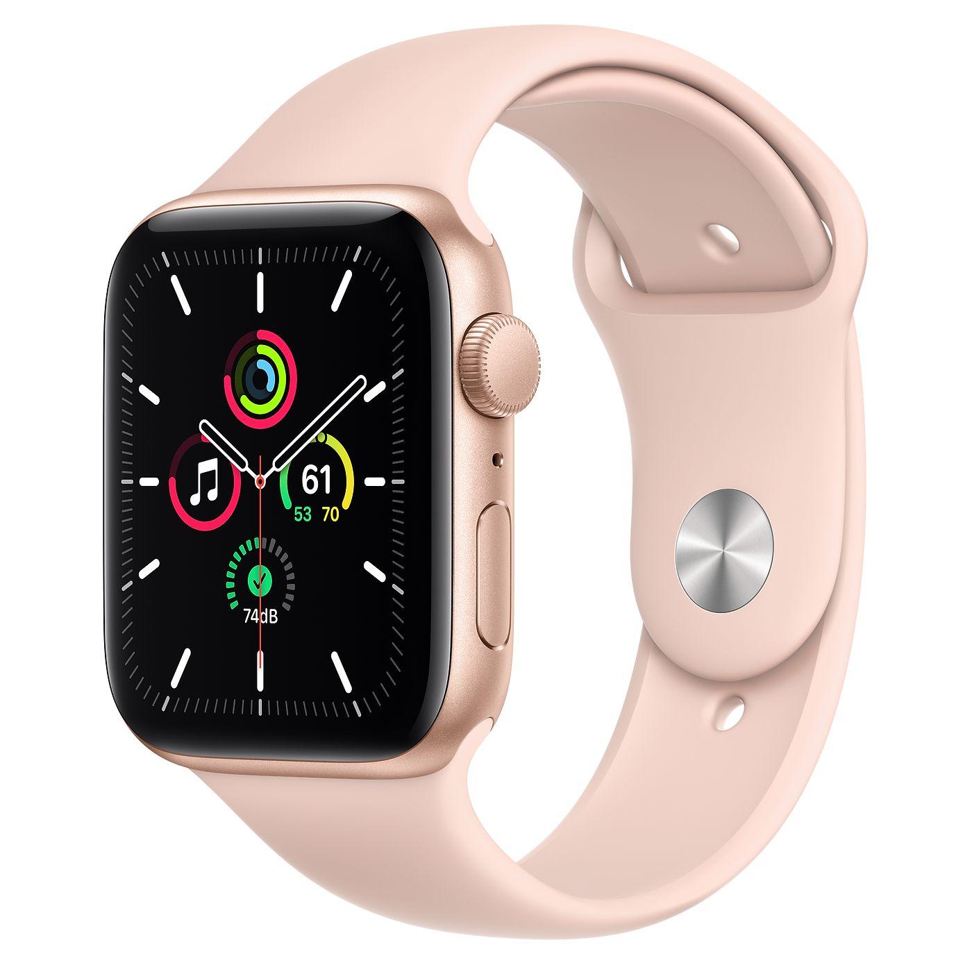 Apple 2020년 애플워치 SE, GPS, 골드 알루미늄 케이스, 핑크 샌드 스포츠 밴드