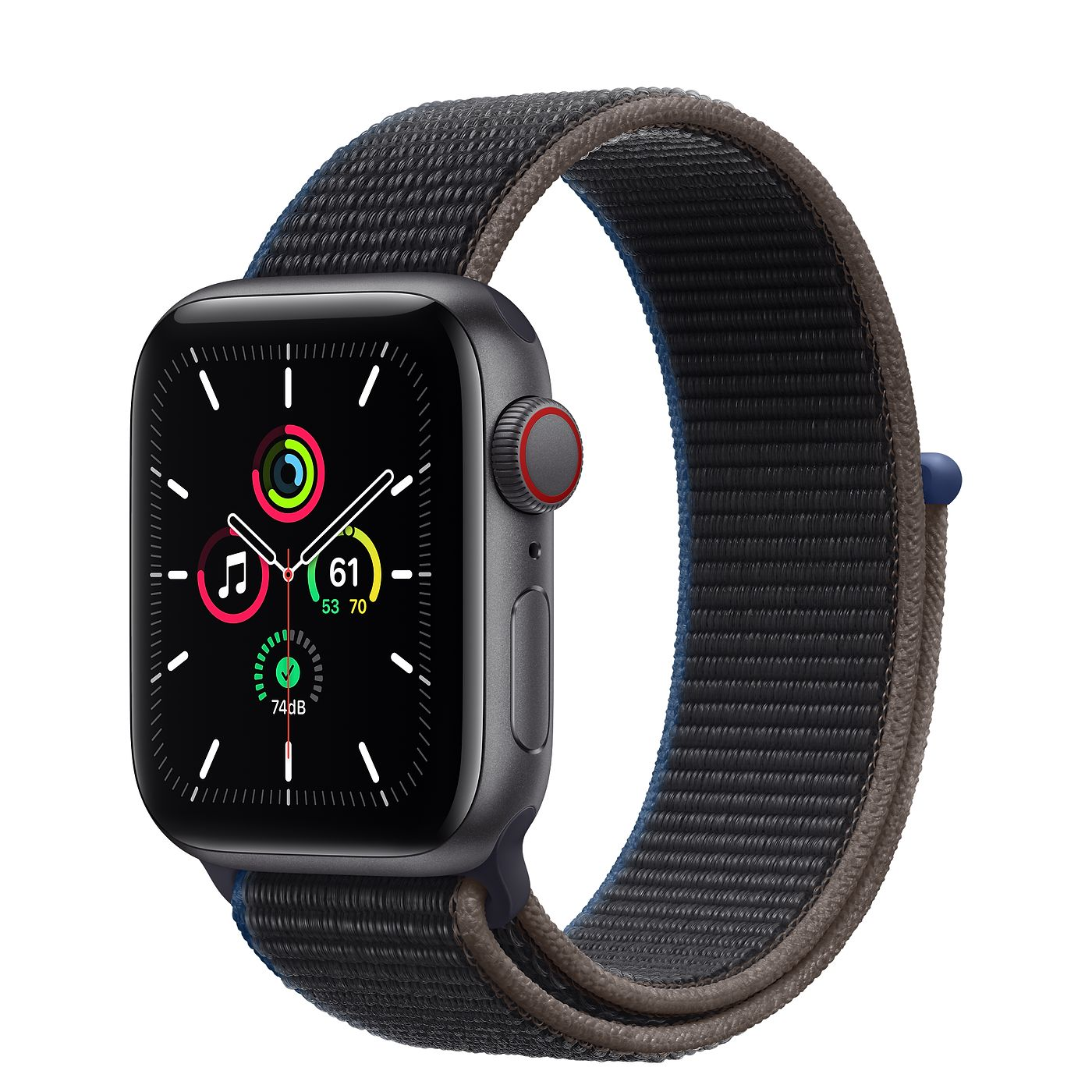 Apple 2020년 애플워치 SE GPS + 셀룰러 40mm, 스페이스 그레이 알루미늄(케이스), 차콜(스포츠 루프)