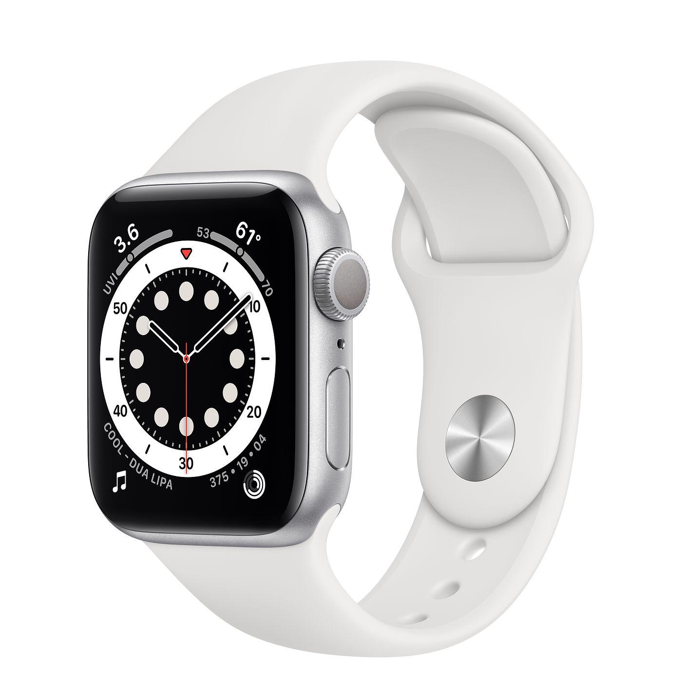 Apple 2020년 애플워치 6, GPS, 실버 알루미늄 케이스, 화이트 스포츠 밴드