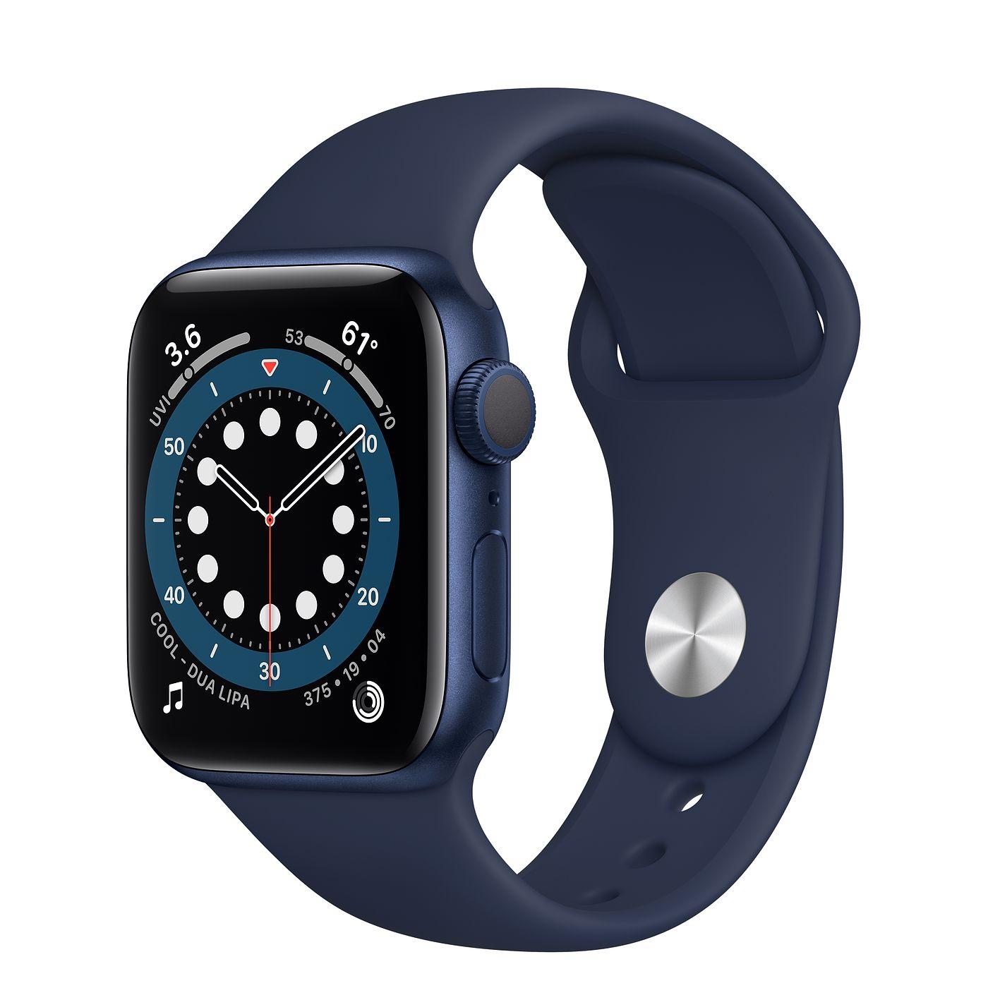 Apple 애플워치 6, GPS, 블루 알루미늄 케이스, 딥 네이비 스포츠 밴드