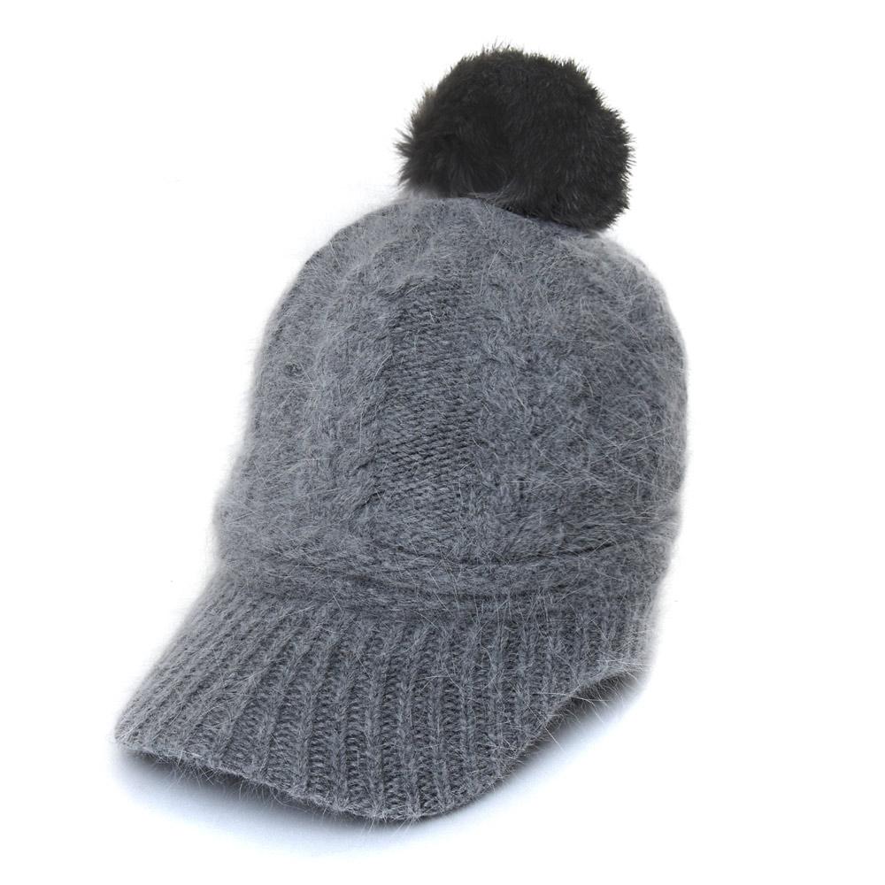 아리체 앙고라 털 방울 여성용 모자, 그레이