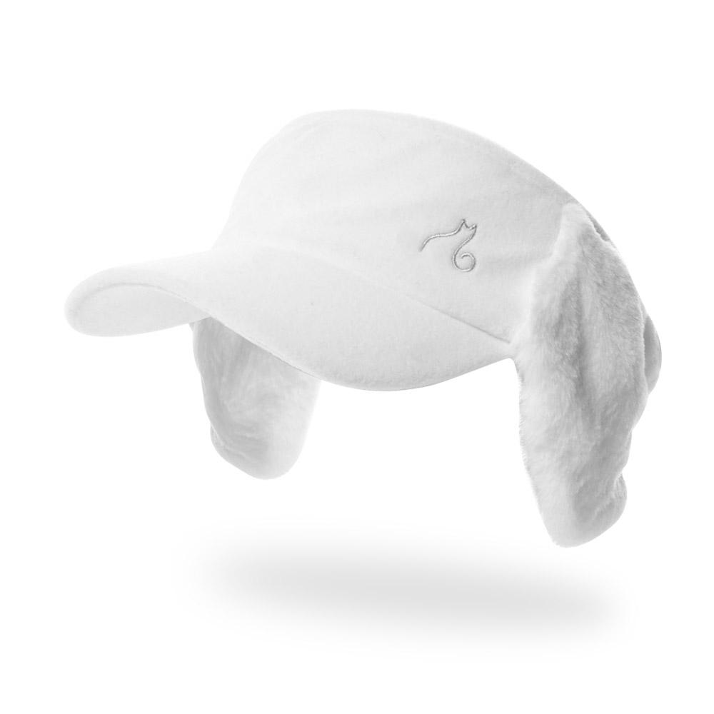 아리체 귀달이 퍼 바이저 여성용 모자, 화이트