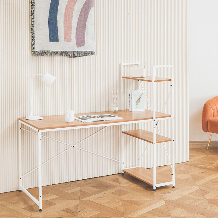스칸디나 컴퓨터책상 1400, 테이블(화이트), 부품캡(랜덤발송)