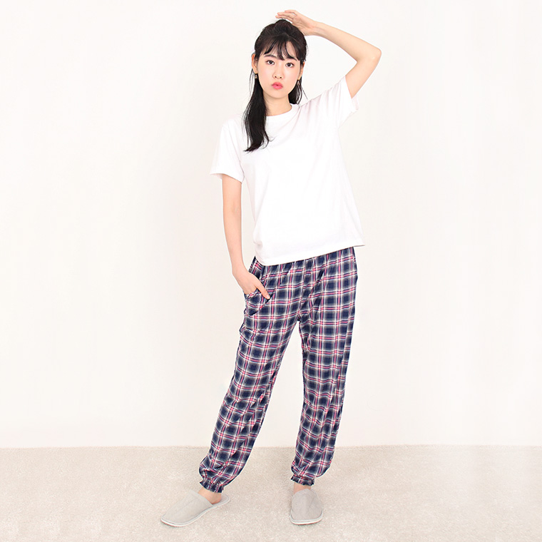 JBFX 여성용 피치기모 패턴 잠옷 시보리바지