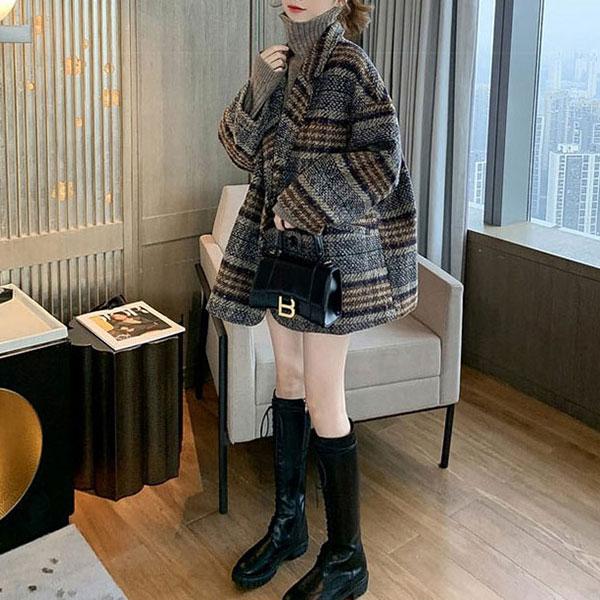 루나걸 여성용 스냅덕 모직 체크 코트