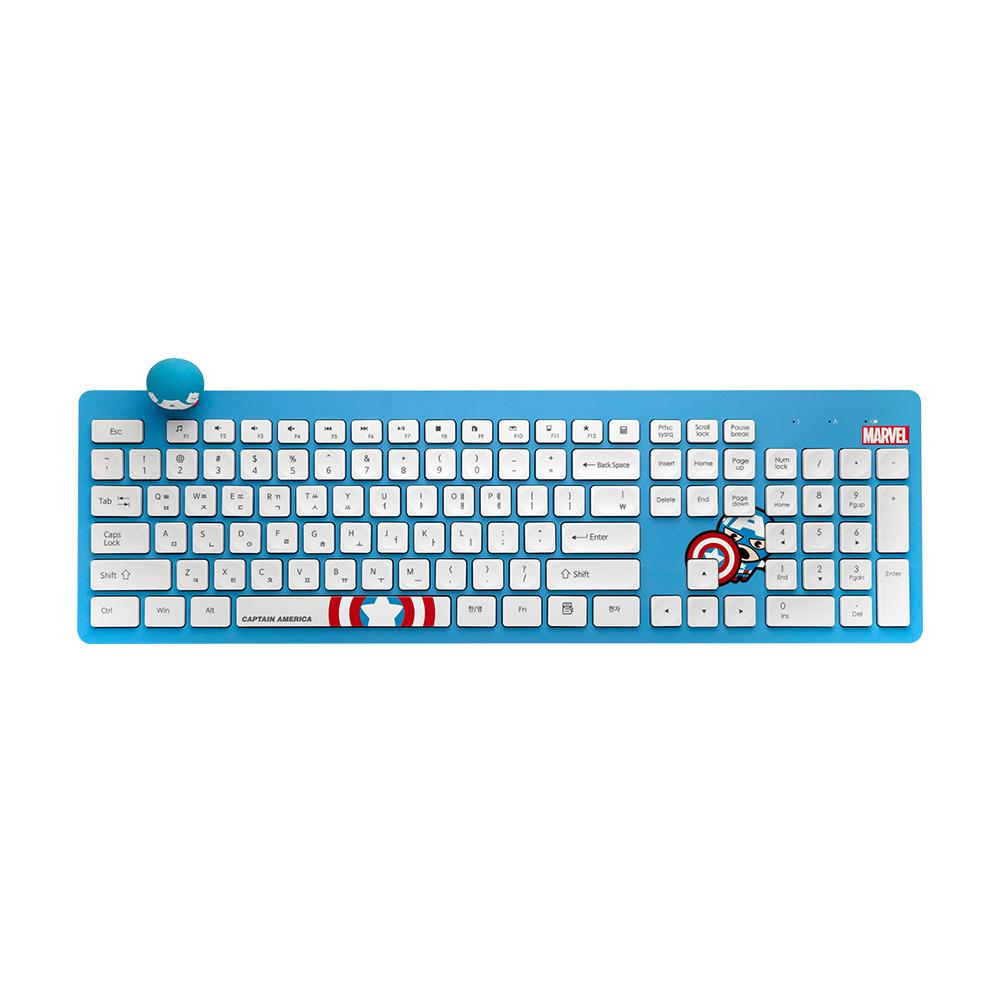 마블 카와이 무선키보드, MKK-04, CAPTAIN AMERICA BLUE + WHITE