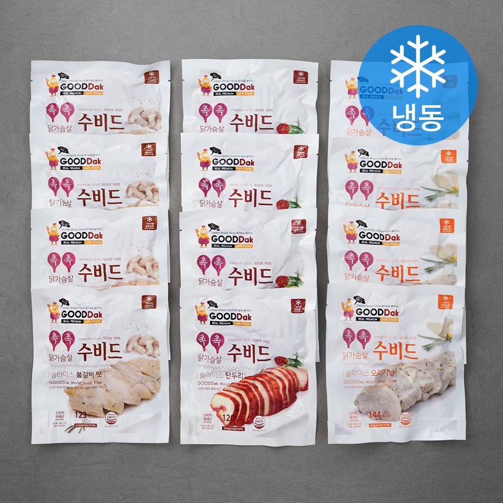 굳닭 수비드 닭가슴살 슬라이스 4입 x 3종 세트 (냉동), 1세트