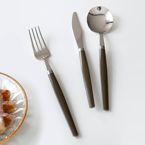 니코트 good grip 커트러리 1인세트, 딥카키, 디너스푼 + 포크 + 나이프