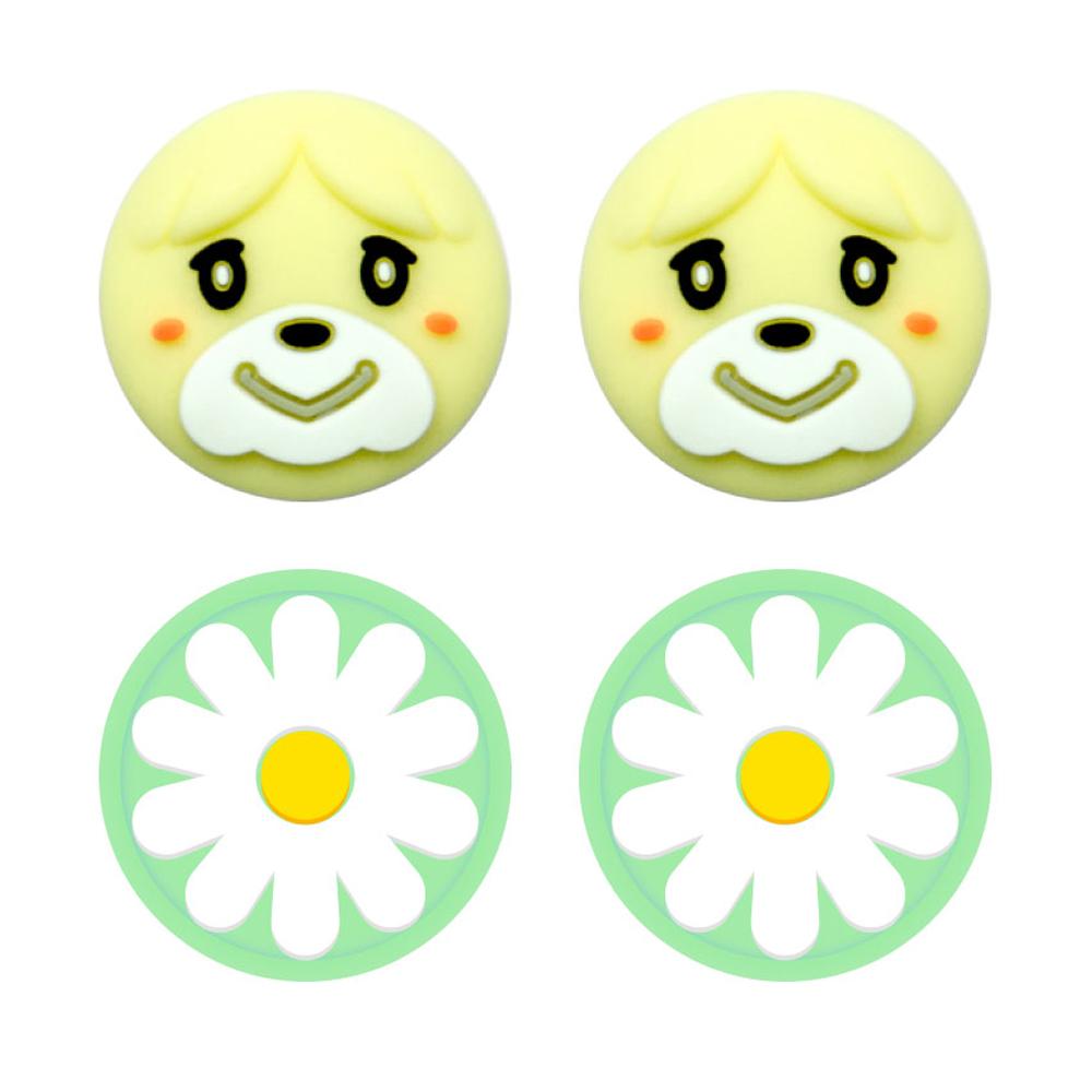 호후 닌텐도 스위치 스위치라이트 동물의숲 에디션 냥발 조이콘 스틱커버 여울이 + 꽃, 2세트