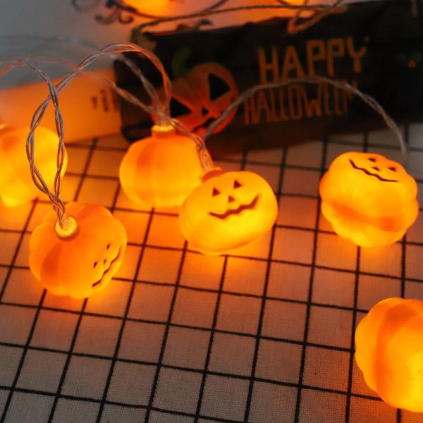 데코코마니 펌프킨 할로윈 호박2 단색 건전지 LED 조명 파티용 와이어전구, 오렌지