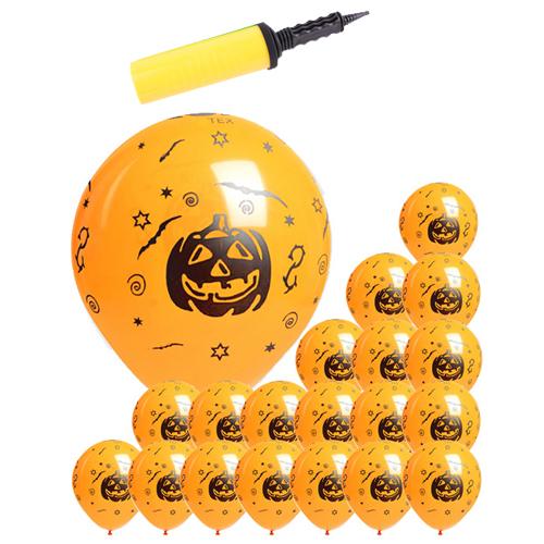 할로윈 풍선 30cm x 20p + 소형리본 + 손펌프 랜덤발송, 호박 오렌지, 1세트
