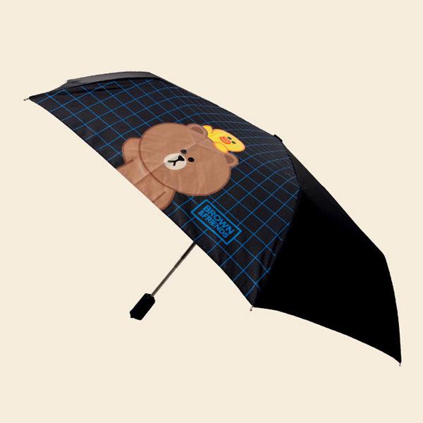 라인프렌즈 브라운앤프렌즈 완전자동 체크 3단 우산 70010