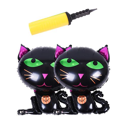 할로윈 은박풍선 슈퍼쉐입 2p + 손펌프 랜덤발송, 검은고양이, 1세트
