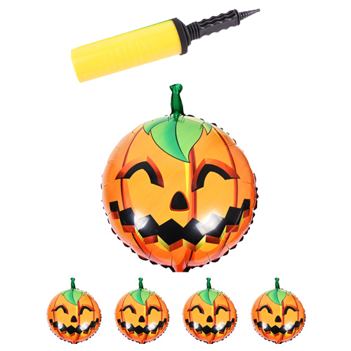 할로윈 은박풍선 5 x 29.5 cm 5p + 손펌프 랜덤발송, 웃는호박, 1세트