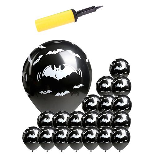 할로윈 풍선 30cm x 20p + 소형리본 + 손펌프 랜덤발송, 박쥐 블랙, 1세트
