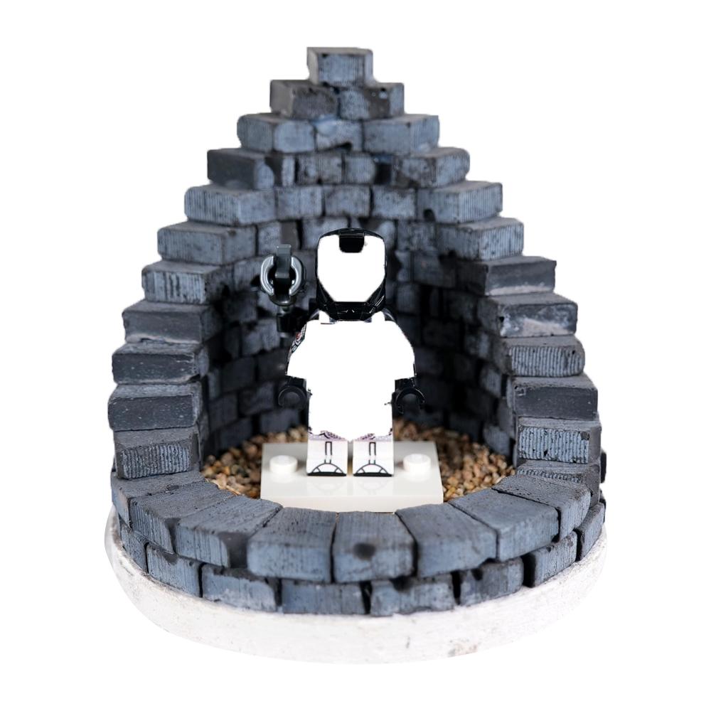 리얼브릭 벽돌 캠프 파이어 A 만들기 미니어쳐 DIY 키트, 블랙 + 화이트 + 브라운