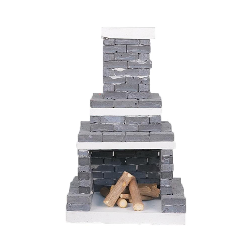 리얼브릭 벽난로 만들기 미니어쳐 DIY 키트, 블랙 + 화이트
