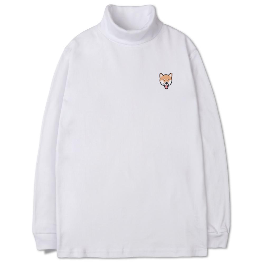 벤힛 헬로 시바 자수 소프트 목폴라 긴팔 티셔츠